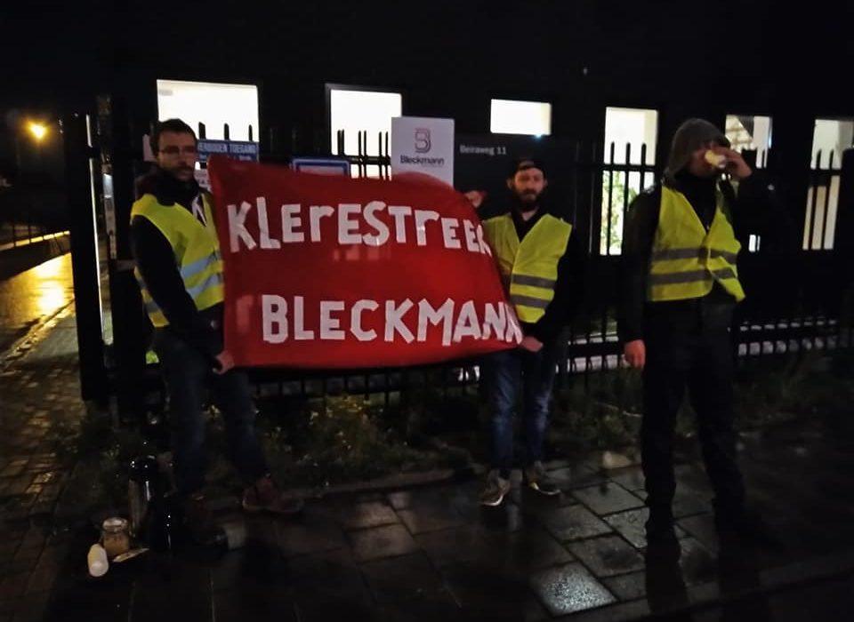 tweede picket tegen bleckmann, vloerwerk deelt koffie uit
