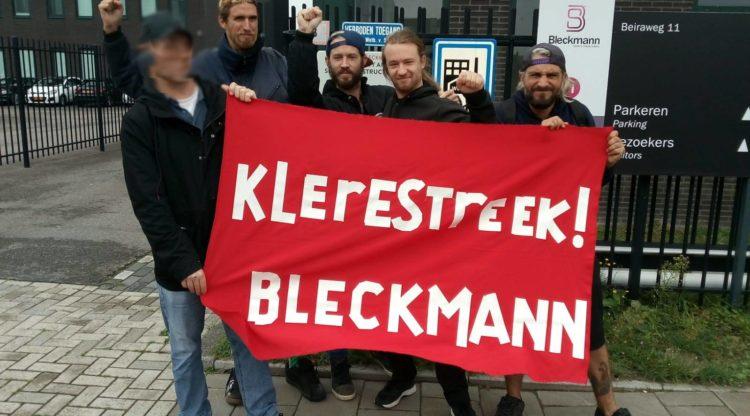 Vloerwerk picket tegen onzin ontslagen bij modedistributiebedrijf Bleckmann aan de Amsterdamse Beiraweg