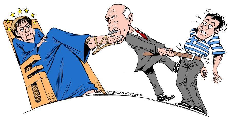 Tekenaar Latuff: Griekse premier zuigt Grieken uit om aan bevel Europa te voldoen